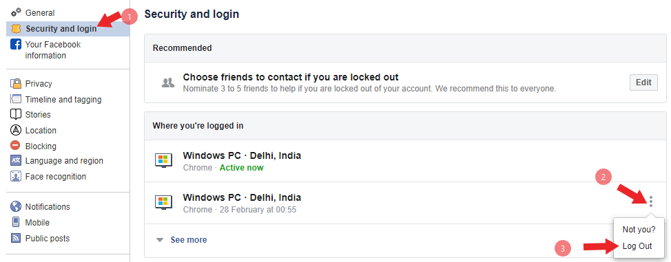 facebook logout kaise kare