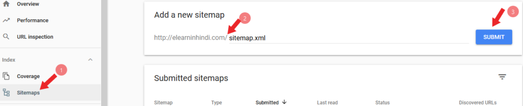 how to submit sitemap to google in hindi