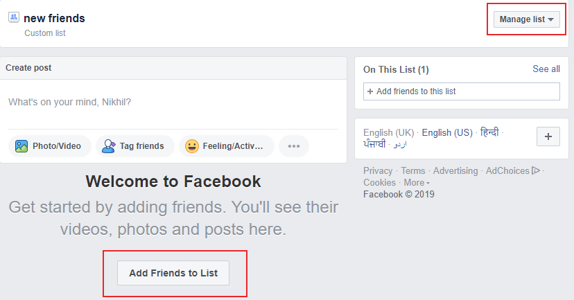 Facebook Custom Friends List hindi