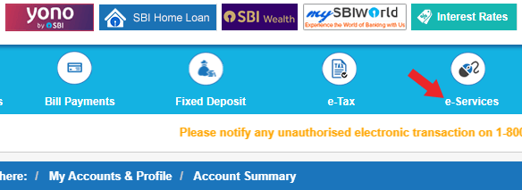sbi debit card online process