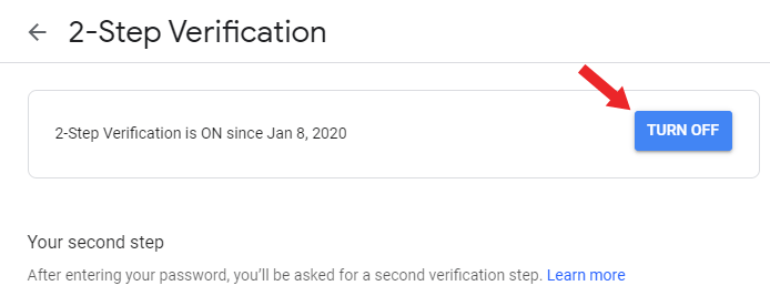 gmail 2 step verification turn off hindi