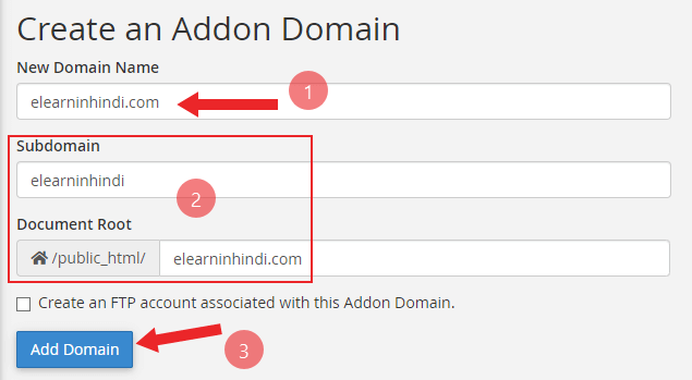 how to addon domain in hindi